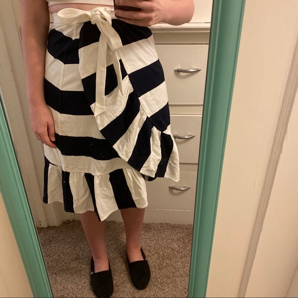 J. Crew Dresses & Skirts - J.Crew Black & White Striped Wrap Skirt Medium NWT